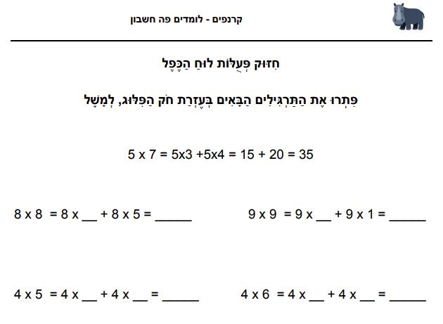 חיזוק פעולות לוח הכפל - מתאים לתלמיגי כיתה ג׳