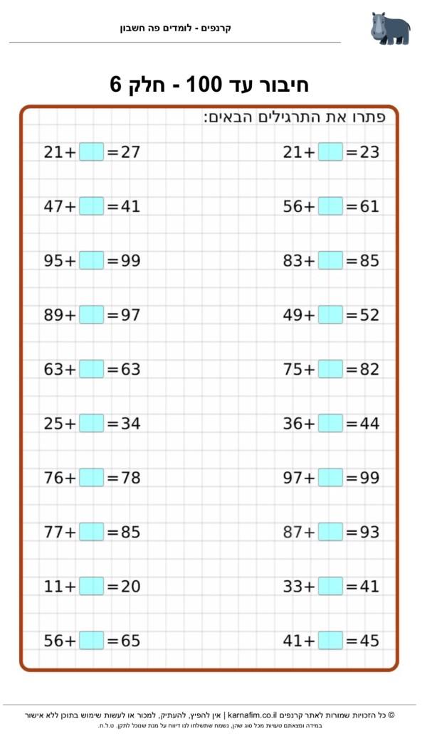 תרגול חיבור עד 100 - חלק 6, התרגול מתאים לתלמידי כיתה ב׳