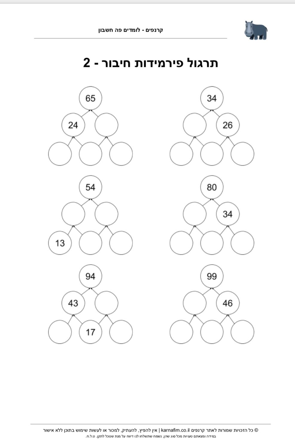 תרגול פירמידות חיבור - חלק 2 לכיתה ג׳