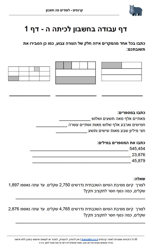 דף עבודה בחשבון לחופש כיתה ה - דף 1