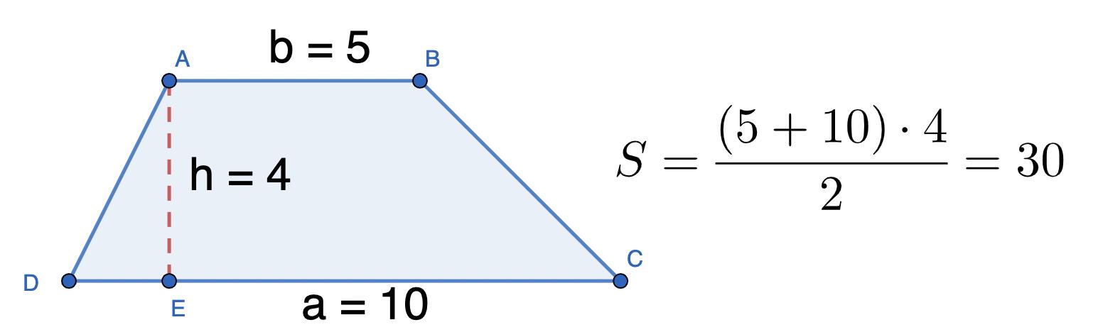 דוגמא כללית לחישוב שטח טרפז רגיל