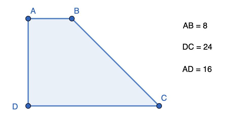 חישוב שטח טרפז ישר זווית - שאלה 2
