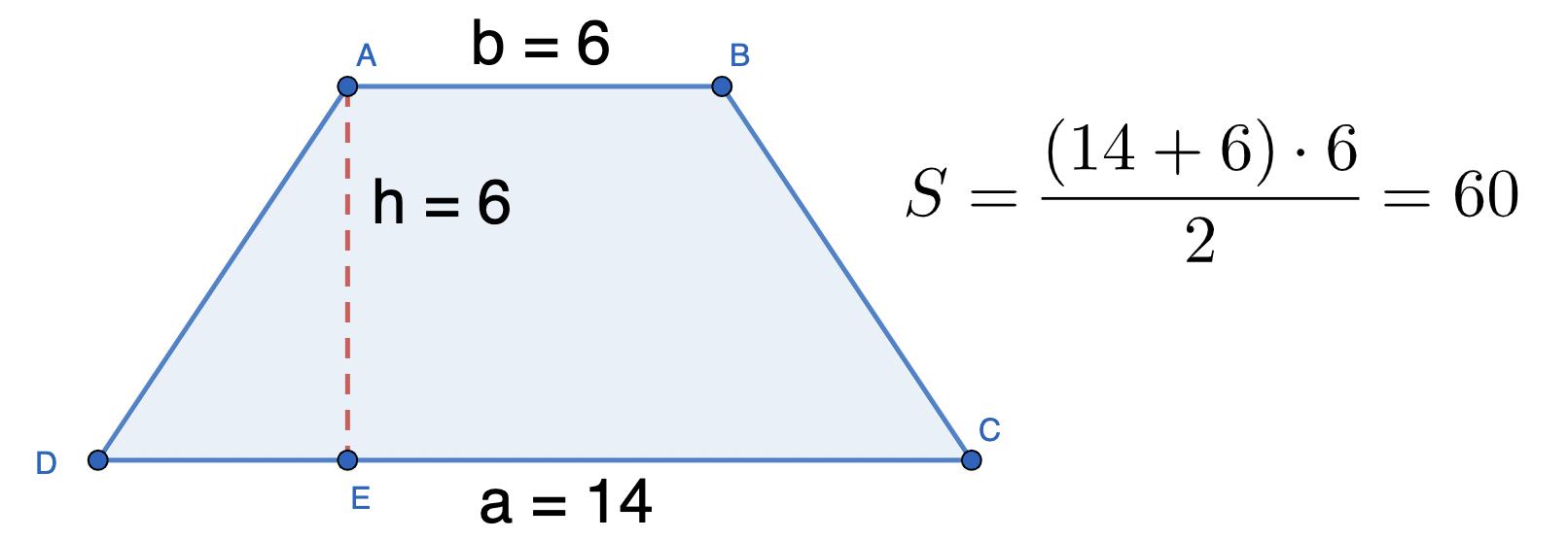 דוגמא לחישוב שטח טרפז שווה שוקיים