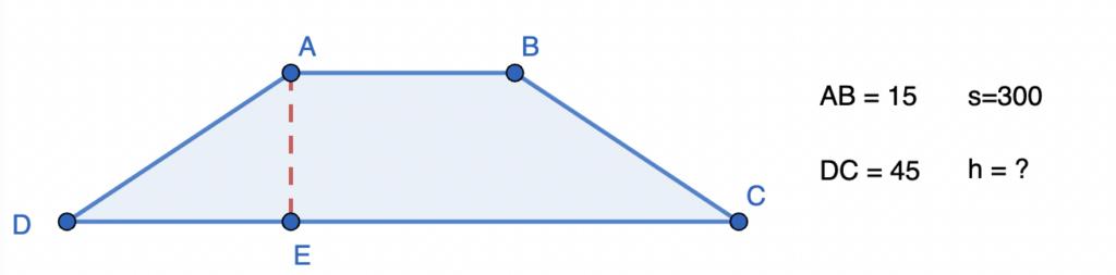 חישוב שטח טרפז שווה שוקיים שאלה 2
